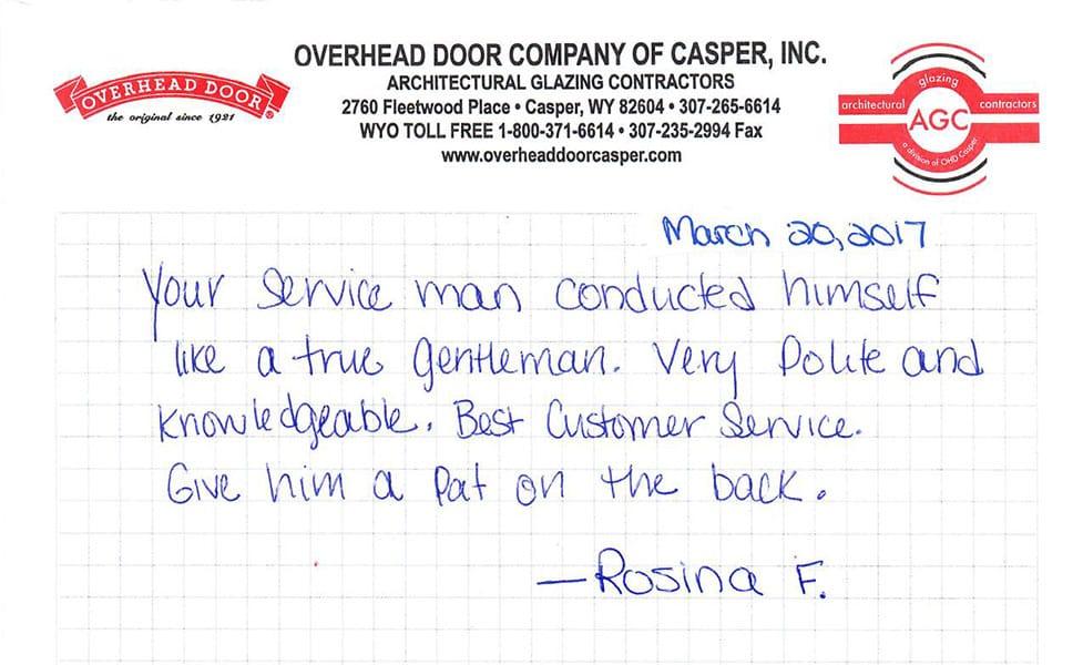 Handwritten NotesReviews   Casper  Evansville WY   Overhead Door Company of Casper. Architectural Doors And Hardware Casper Wy. Home Design Ideas